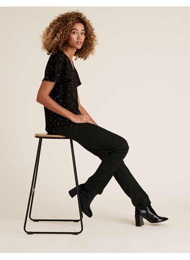 Marks & Spencer Straight Leg Jean Pantolon Siyah